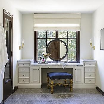 Built In Makeup Vanity With Rotay Blue Velvet Stool