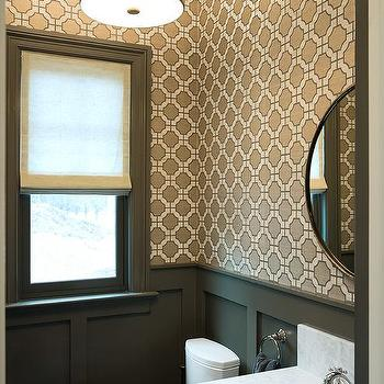 White And Gray Powder Room With Wainscoting Transitional Bathroom