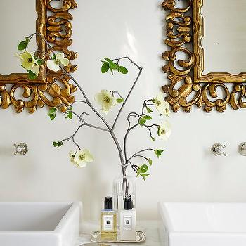 Gold Leaf Bathroom Mirrors in a classic bathroom by Amy Meier. https://shareasale.com/r.cfm?b=683591&u=1324239&m=11035&urllink=https%3A%2F%2Fwww%2Ewayfair%2Ecom%2Ffurniture%2Fpdp%2Fone%2Dallium%2Dway%2Droxane%2Dchaise%2Dlounge%2Daai3027%2Ehtml&afftrack=