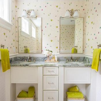 'Pink Kids Bathroom with Butterfly Wallpaper' from the web at 'https://cdn.decorpad.com/photos/2016/12/15/m_shared-girls-bathroom-butterfly-wallpaper.jpg'