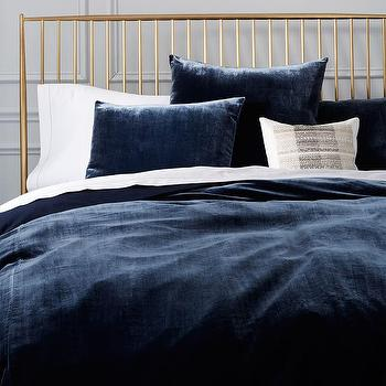 luxe midnight blue velvet duvet cover shams