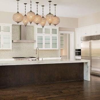Thick Marble Waterfall Kitchen Island Top Design Ideas