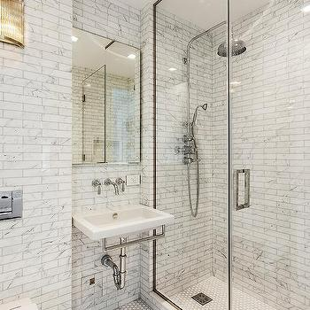 White Marble Bathroom Wall Tiles With Gray Grout Design Ideas - White marble bathroom wall tiles