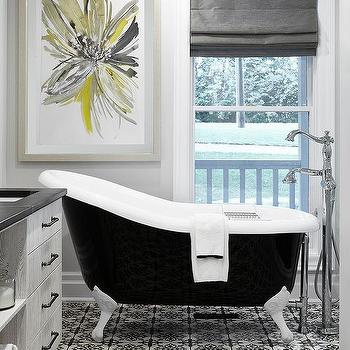 Black And Gray Bathroom With Yellow Art
