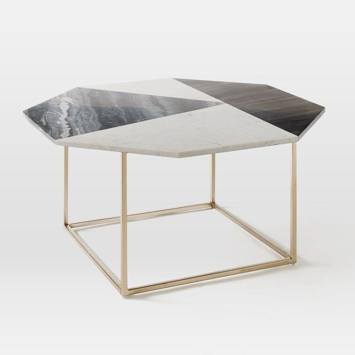 marquetry marble top coffee table