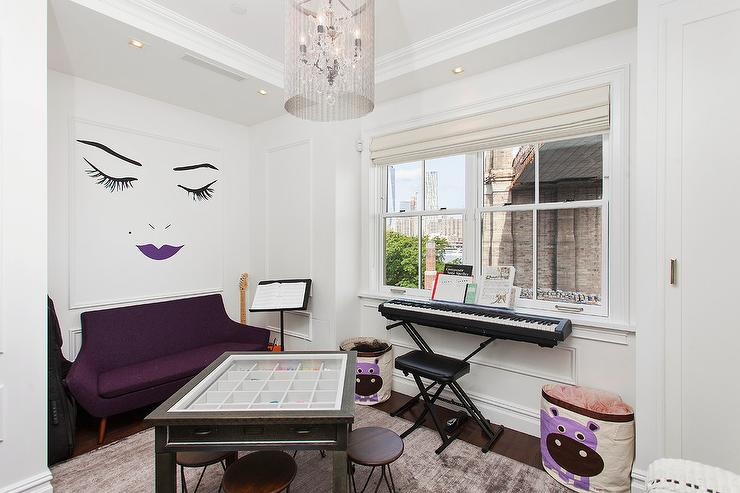Contemporary Kid Room With Purple Sofa