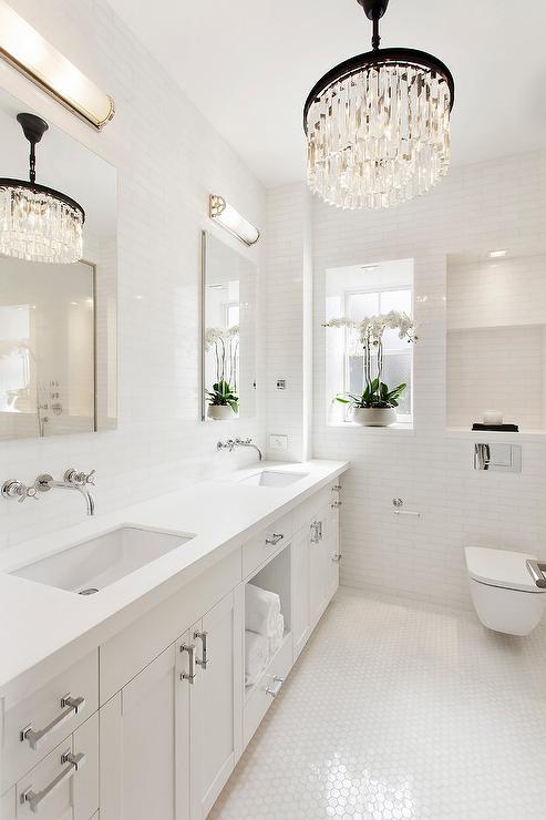 White quartz curved bath vanity backsplash cottage for Quartz bathroom accessories