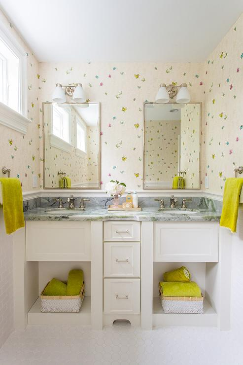 'view full size' from the web at 'https://cdn.decorpad.com/photos/2016/12/15/shared-girls-bathroom-butterfly-wallpaper.jpg'