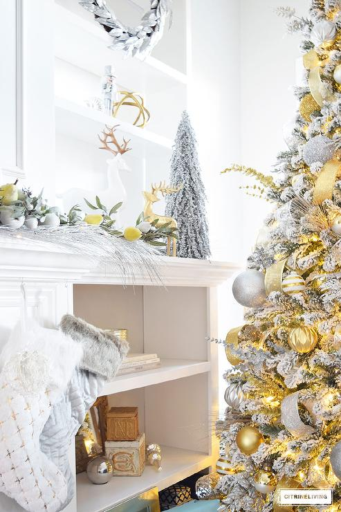 Silver And Gold Christmas Decor Transitional Living Room