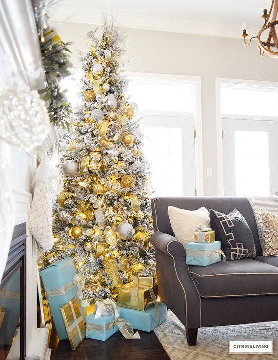 Silver And Gold Christmas Tree Transitional Living Room