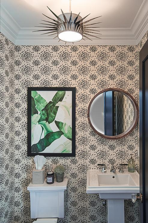 Wallpaper For Powder Rooms Contemporary Bathroom