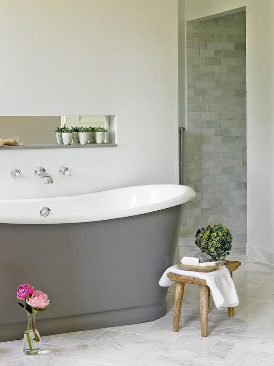 Freestanding Gray Cast Iron Bathtub - Transitional - Bathroom