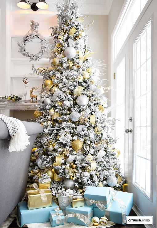 view full size a silver and gold christmas tree