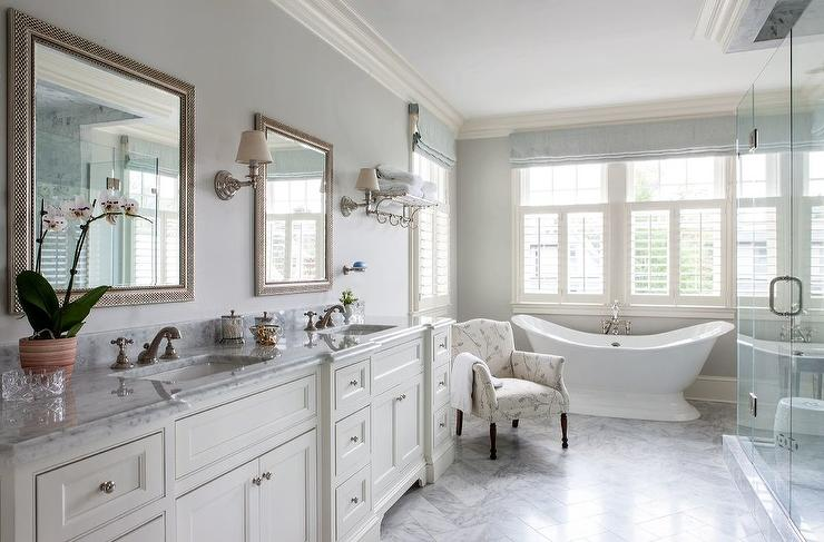 White and Gray Bathroom with Vintage Bathtub - Transitional - Bathroom