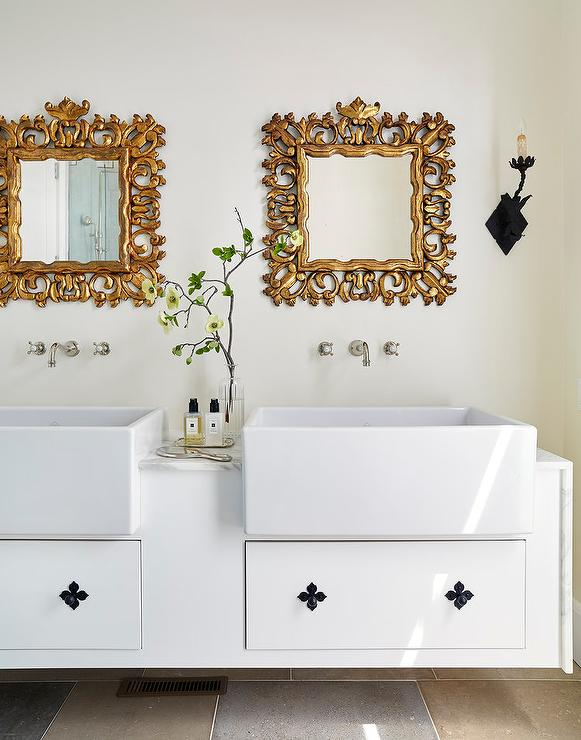 Excellent Choice Bathroom Shop Uk Thick Mirror For Bathroom Walls In India Shaped 3d Floor Tiles For Bathroom India Reviews Best Bathroom Faucets Youthful Bathroom Mirror Circle BrightBath Room Floor White Washstand With Gold Leaf Ornate Mirror   Transitional   Bathroom