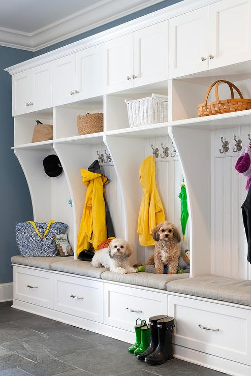 Gray Mudroom With Wainscot Trim Transitional Laundry Room