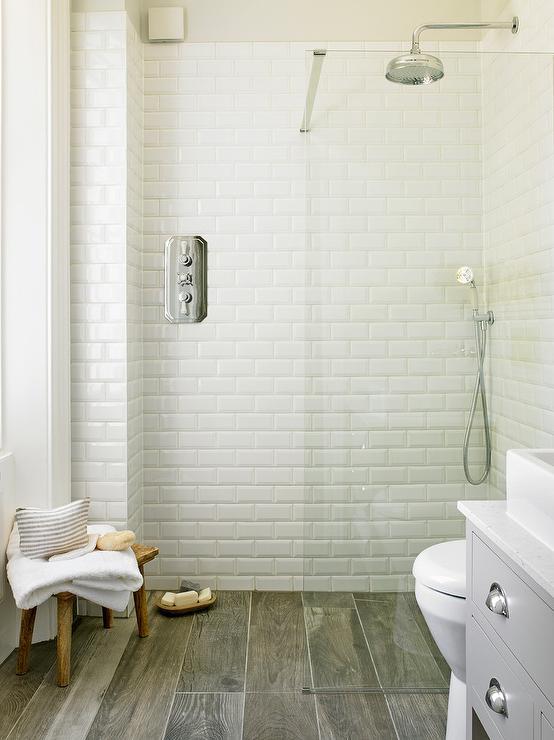 Wood Like Shower Floor Tiles Transitional Bathroom
