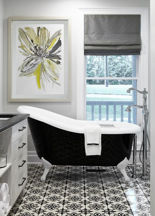 Black And Gray Bathroom With Yellow Art Transitional