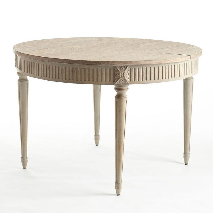 Gustavian Ivory Patina Extension Wood Dining Table