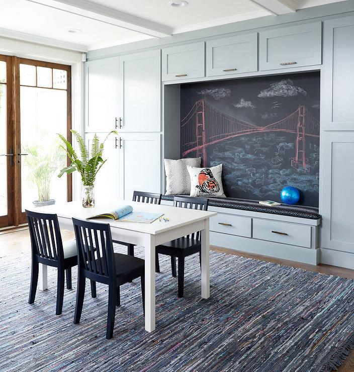 Contemporary Playroom With Chalkboard Accent Wall Transitional - Chalkboard accents dining rooms