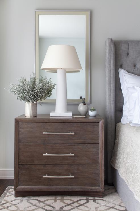 Light Grey Bedside Table: Light Beige Velvet Tufted Wingback Bed With Taupe