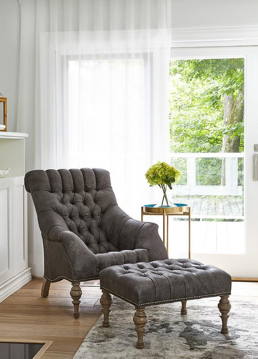 Gray Tufted Accent Chair with Ottoman - Transitional - Living Room