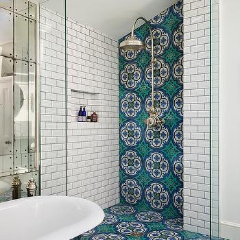 Green And Blue Mosaic Bathroom Floor Tiles Design Ideas