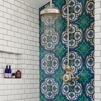 Blue mosaic cement shower tiles mediterranean bathroom for Christine huve interior designs
