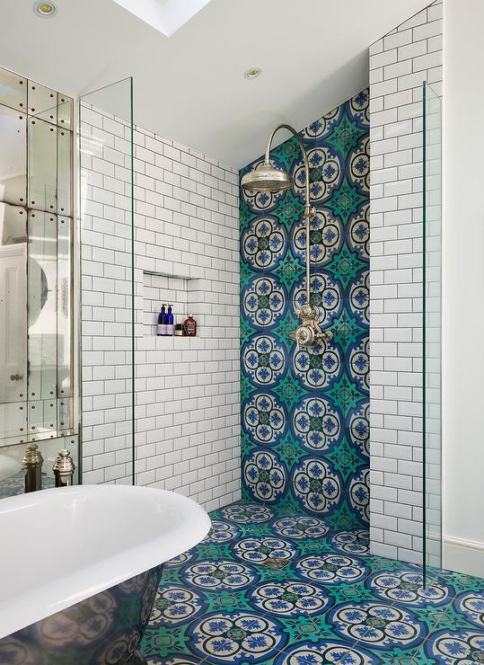 Open Shower with Blue and Green Mosaic Tiles Contemporary Bathroom