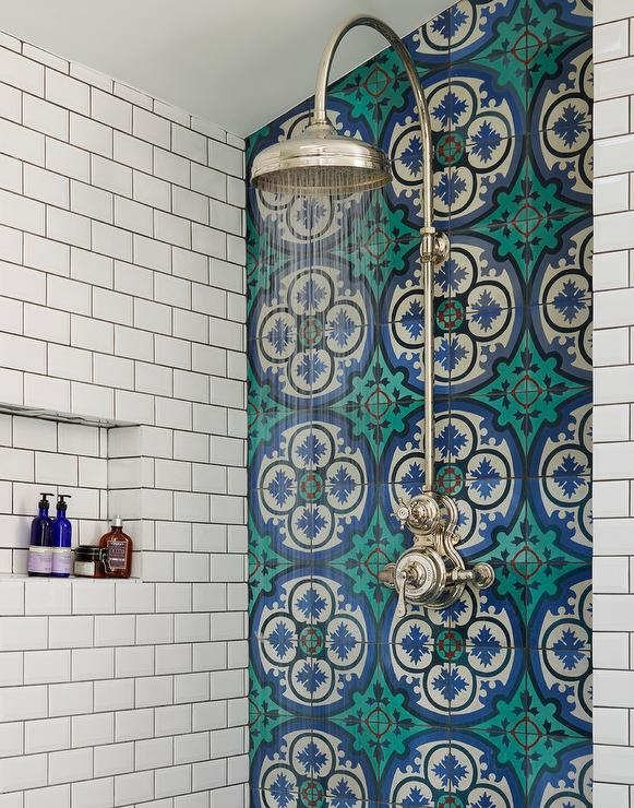 Blue Mosaic Tile Accent Wall Bathroom: Blue Mosaic Cement Shower Tiles