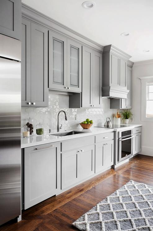Gray Kitchen With White Honeycomb Tiles Transitional Kitchen