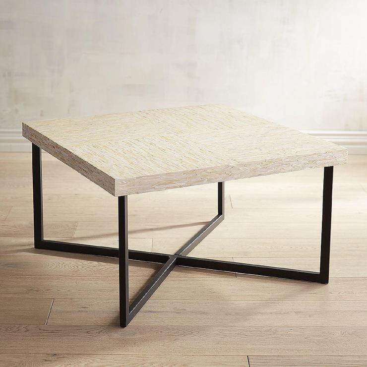 Mother Of Pearl Wood Square Coffee Table