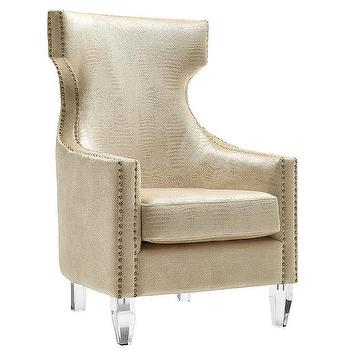 tov furniture gramercy velvet wing chair in gold crocodile view full size