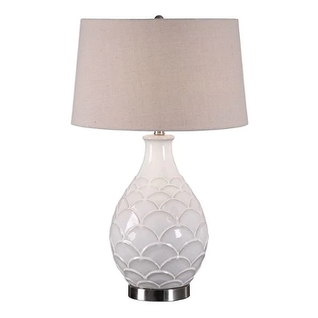 Uttermost Camellia Glossed White Table Lamp View Full Size