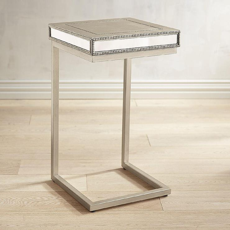 Celine Mirrored Champagne Beaded C Table