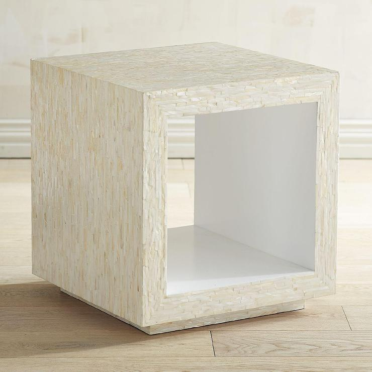Brown Parsons Cube Side Table