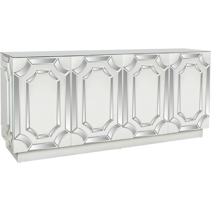 Decorative Mirrored Cutout Sideboard Console view full size - White Mirrored Sideboard - Products, Bookmarks, Design