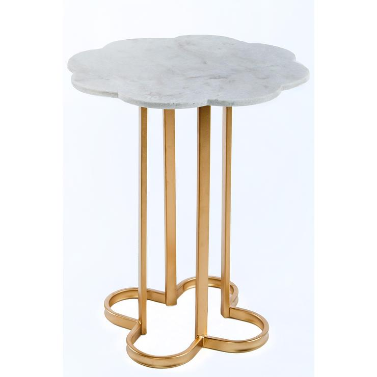 Noir Manning Gold Marble Top End Table
