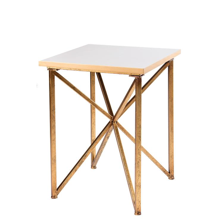 blanc white gold end table