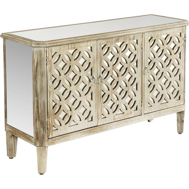 Hamptons Quatrefoil Reclaimed Mirrored Buffet Sideboard