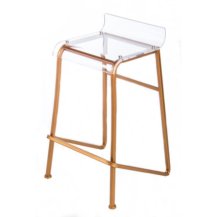 Gabby Furniture Johnson Clear Acrylic Gold Base Bar Stool