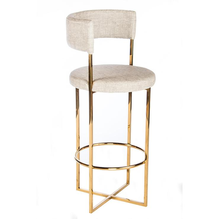 Carrie Gold Linen Curved Bar Stool