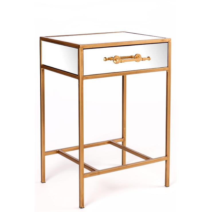 gold single drawer mirror nightstand