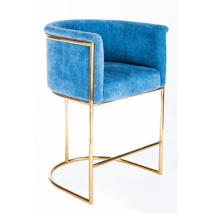 Erin Gold Grey Velvet Bar Chair Set