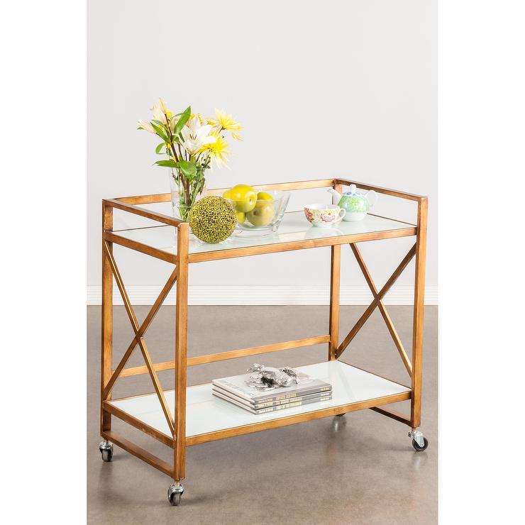 Mia Metallic Gold Bar Serving Cart