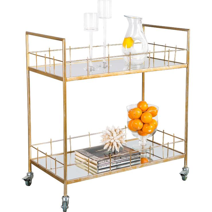 carrie mirrored gold bar serving cart - Dining Room Serving Carts