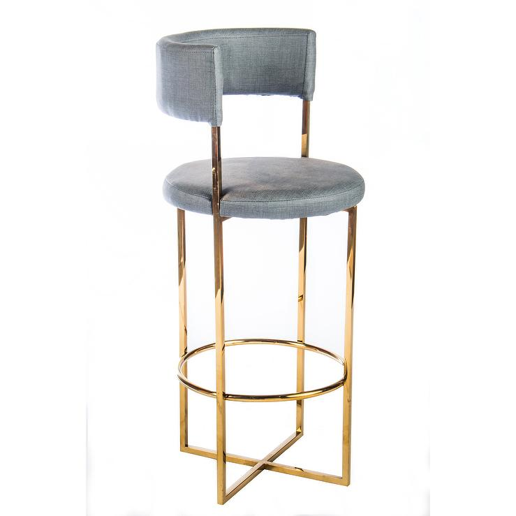 Carrie Blue Gold Bar Stool