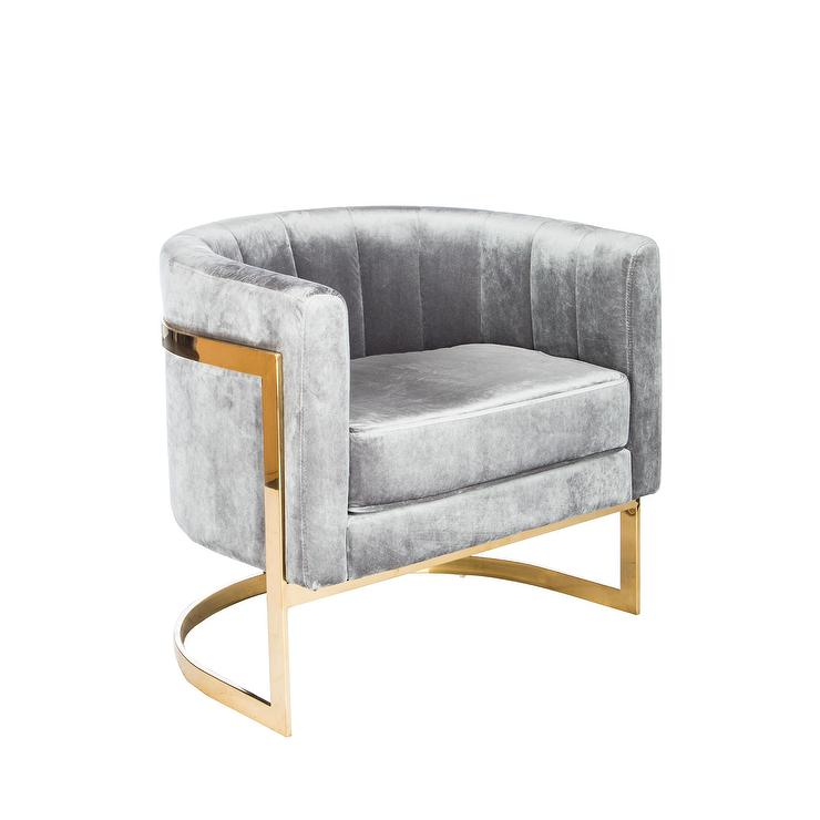 Awesome Mica Grey Velvet Gold Accent Chair