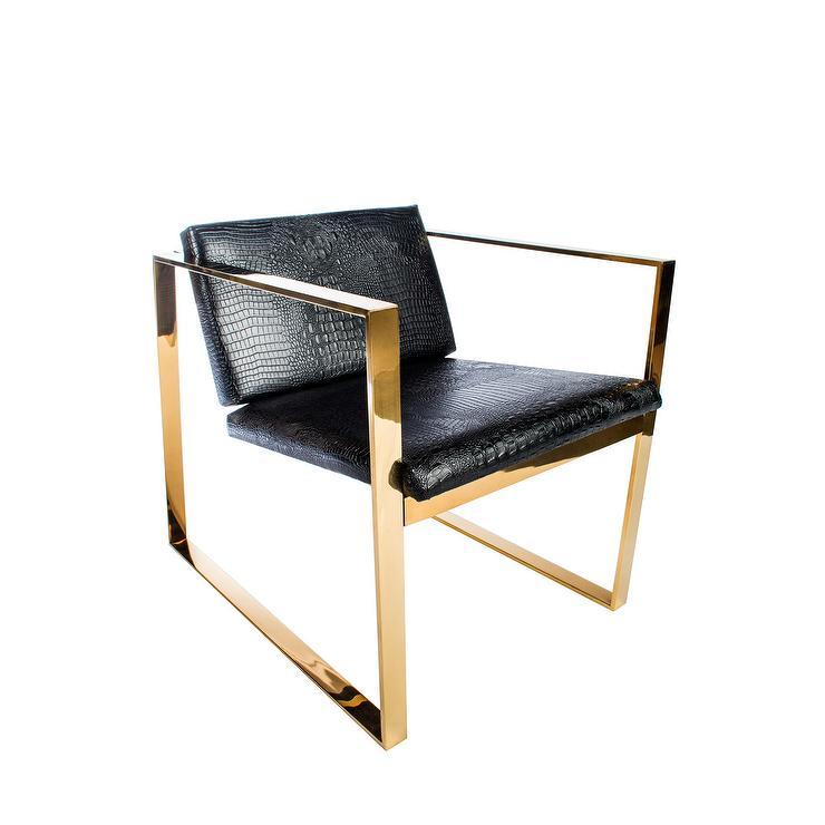 Alaia Black Faux Croc Lounge Chair