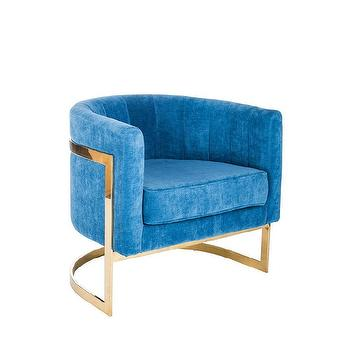 Gold Tree Motif Base Blue Patterned Seat Accent Chair